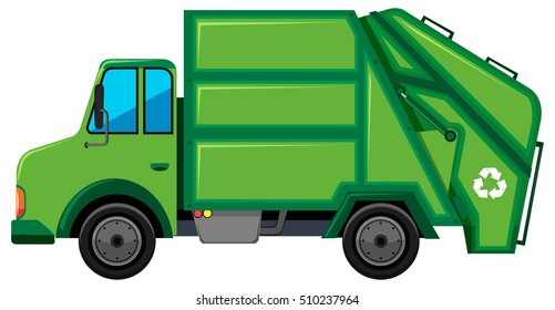 Rubbish truck with recycle sign illustration
