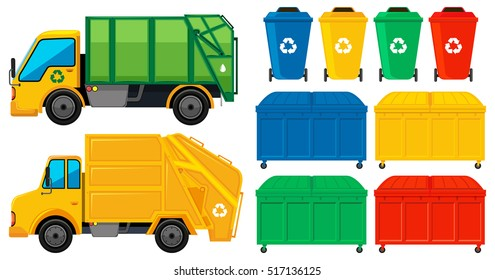 Rubbish trucks and cans in many colors illustration