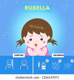 Rubella, German measles. The girl sick rubella.  Prevention  and symptom of disease .Cartoons of rubella virus. Cause of infection, diagnostics or corrective therapy. Vector illustration