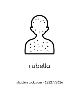 Rubella icon. Trendy modern flat linear vector Rubella icon on white background from thin line Diseases collection, editable outline stroke vector illustration
