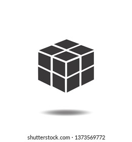 Rubik cube 3d icon vector geometric flat sign symbols logo line pictogram illustration isolated on white background.Concepts object design for web app.