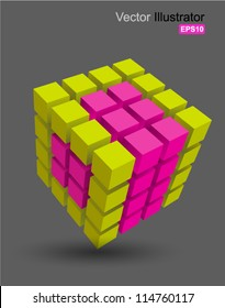 Rubik cube 3D vector, can use for business concept, education , brochure object.