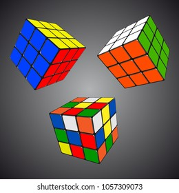 Rubik s Cube in different positions realistic isolated vector illustration vector illustration