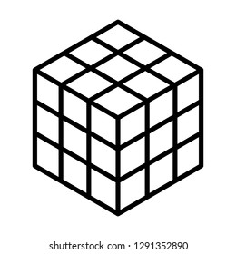 Rubik's cube 3d combination puzzle line art vector icon for apps and websites