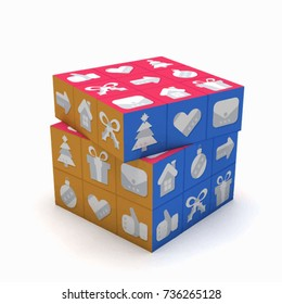 Rubik's Cube. statistical information. Gifts for the New Year. Gifts delivery. Solving a problem. Time management. Puzzle on white background, isolated. Christmas and New Year symbols.