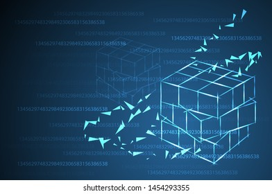 rubik's cube. wireframe in dark blue and background number. luminosity, light, illustration or background, presentation.