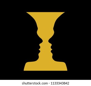 Rubin vase, optical illusion, head girl