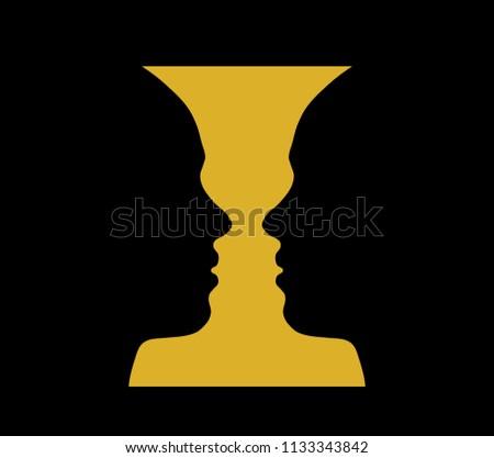 Rubin Vase Optical Illusion Head Girl Stock Vector Royalty Free