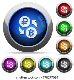 Ruble Bitcoin money exchange icons in round glossy buttons with steel frames