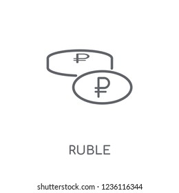 Ruble linear icon. Modern outline Ruble logo concept on white background from Culture collection. Suitable for use on web apps, mobile apps and print media.