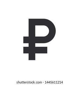 Ruble sign. Russian ruble. Vector money symbol. Bank payment symbol. Color easy to edit. Transparent background.