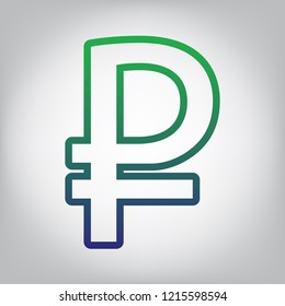 Ruble sign. Vector. Green to blue gradient contour icon at grayish background with light in center.
