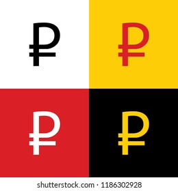 Ruble sign. Vector. Icons of german flag on corresponding colors as background.
