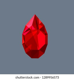 Ruby gem shining logo vector drop shaped illustration