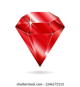 Ruby gemstone. Isolated object on a white background, vector illustration