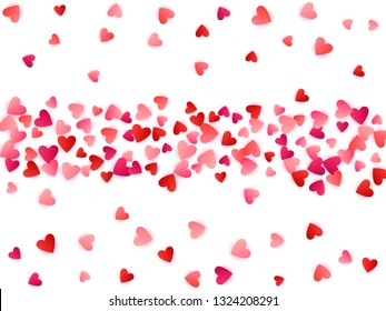 Ruby red flying hearts bright love passion vector background. Amour wallpaper. Romantic signs confetti. Pretty flying red hearts scatter for Valentines Day card.