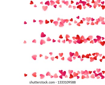 Ruby red flying hearts bright love passion vector background. Amour backdrop. Romantic signs confetti. Abstract flying red hearts scatter for wedding invitation card.