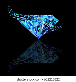 Ruby, sapphire, diamond logo, background for jewelry company