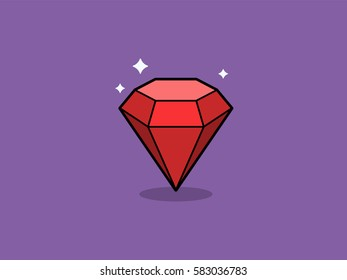 Ruby vector illustration. Red gemstone flat icon.