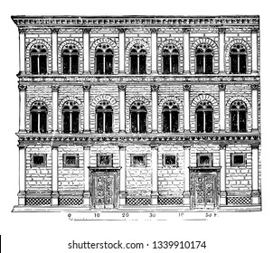 Rucellai Palace creations of Alberti form a class apart Florentine palace architecture do not display the peculiarities of the Florentine style to a certain extent vintage