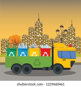 ruck transportation garbage. Car waste disposal. Can container for various garbage. Waste segregation sorting. Recycling and utilization equipment. Waste management. illustration flat style.