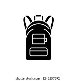 Rucksack black icon, vector sign on isolated background. Rucksack concept symbol, illustration