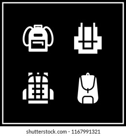 rucksack icon. 4 rucksack vector set. school bag and backpack icons for web and design about rucksack theme
