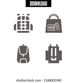 rucksack icon. 4 rucksack vector set. bag of books and backpack icons for web and design about rucksack theme