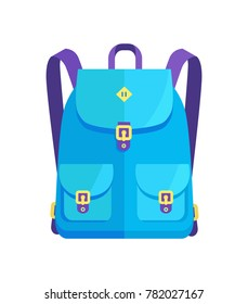 Rucksack unisex in blue colors with big pockets and metal fasteners vector illustration isolated on white. Backpack in back to school concept