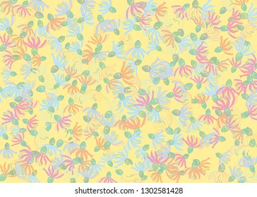Rudbeckia flowers gentle pattern. Light yellow, blue, pink colors rustic floral print. Flowers confetti vector design