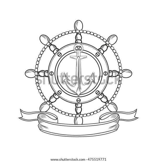 b395df388 rudder anchor ribbon cartoon pirate tattoo marine nautical icon. Black  white isolated design. Vector