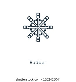 Rudder concept line icon. Linear Rudder concept outline symbol design. This simple element illustration can be used for web and mobile UI/UX.