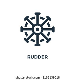 Rudder icon. Black filled vector illustration. Rudder symbol on white background. Can be used in web and mobile.