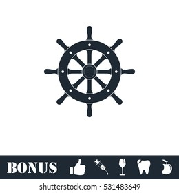 Rudder icon flat. Vector illustration symbol and bonus pictogram