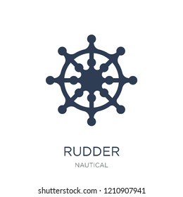 Rudder icon. Trendy flat vector Rudder icon on white background from Nautical collection, vector illustration can be use for web and mobile, eps10