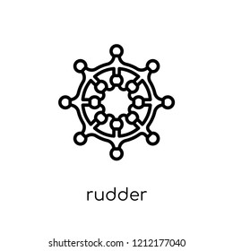 Rudder icon. Trendy modern flat linear vector Rudder icon on white background from thin line Nautical collection, editable outline stroke vector illustration