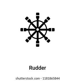 Rudder icon vector isolated on white background, logo concept of Rudder sign on transparent background, filled black symbol
