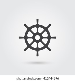rudder icon icon vector, solid illustration, pictogram isolated on gray