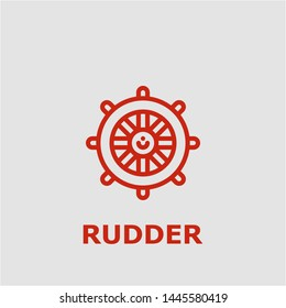 Rudder symbol. Outline rudder icon. Rudder vector illustration for graphic art.