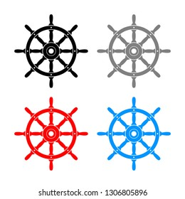 Rudder vector icons on white background