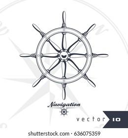 Rudder vector illustration travel concept