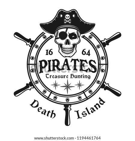 Rudder wheel with pirate