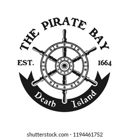 Rudder wheel vector pirate emblem in monochrome vintage style isolated on white background