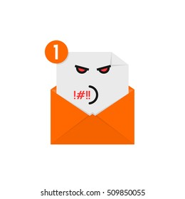 rude emoji in orange letter notification. concept of newsletter, spam, negative e-mail, mood, communication, offense, quarrel, furious. flat style trend modern logo graphic design on white background