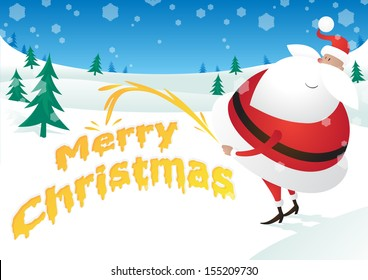Rude Santa takes the Pee and says Merry Christmas