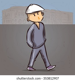Rude young man in a tracksuit. Hand drawn cartoon vector illustration.