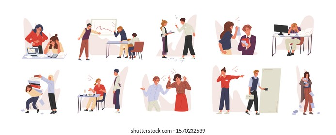 Rudeness in business team vector illustrations set. Bad job, adverse atmosphere, disrespectful attitude towards colleagues concept. Company staff, rude executive and subordinate cartoon characters.
