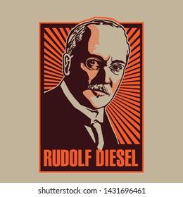 Rudolf Diesel Portrait Vector Illustration