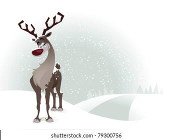 Rudolf the reindeer on a snowy background