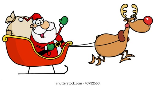 Rudolph Flying Kris Kringle In His Sleigh